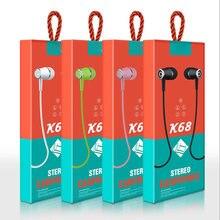 Наушники вкладыши k68 гарнитура с проводным управлением и микрофоном
