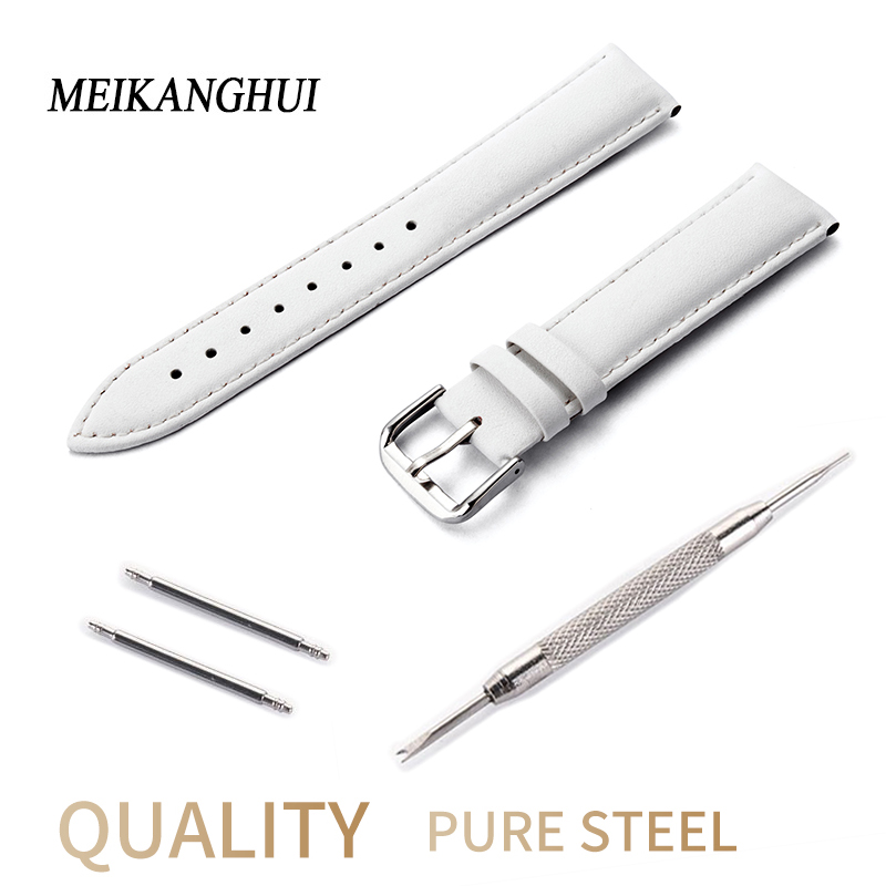 New Design White Watches Band Watch Accessories Strap For Women 14 15 16 17 18 19 20 Mm Leather Watch Band Watch Bracelet