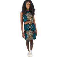 African Print Women Outfit Elegant Women Sleeveless Tops And Skirts Fashion Pattern Ladies Dashiki Clothes Party