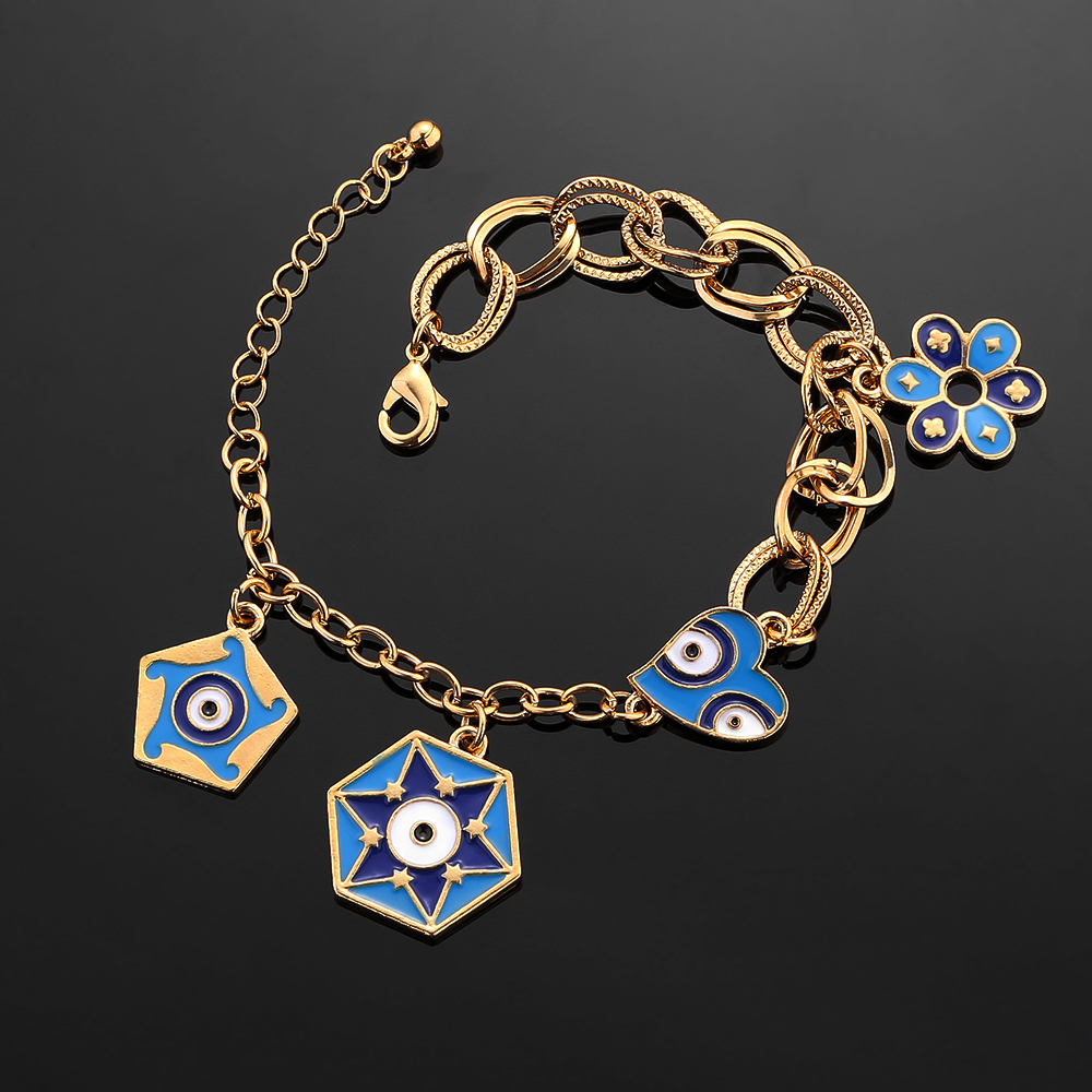 Gold Color Charm Muslim Islam  Bracelets for Women with Flower Bangle Arab Middle East African Jewelry Ethiopian Gifts