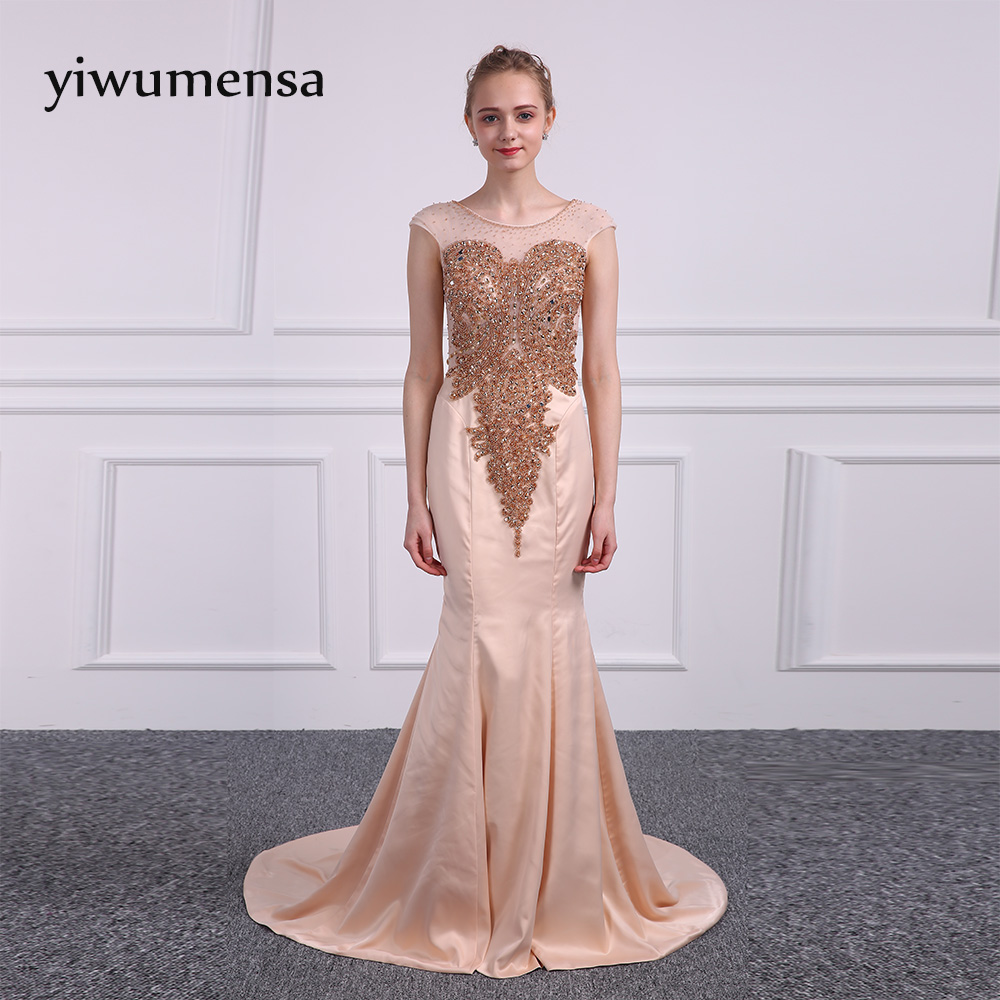 yiwumensa Design Gold Bling Bling beads Mermaid   Prom     dresses   2018 Cap sleeve Scoop Neck Illusion Back Robe De Soiree   Prom     dress