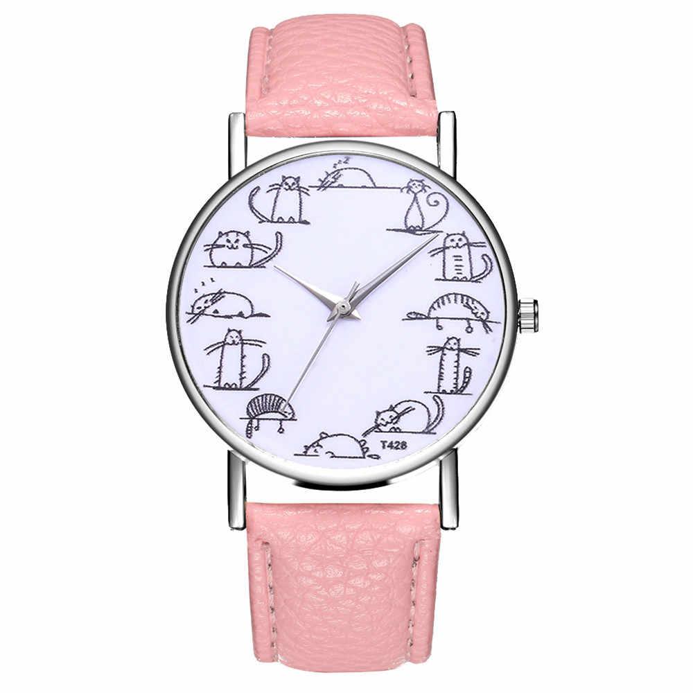 Moda quente relógio feminino casual temperamento cinto de couro analógico quartzo relógios de pulso gato impressão menina relógio presente clcok # a
