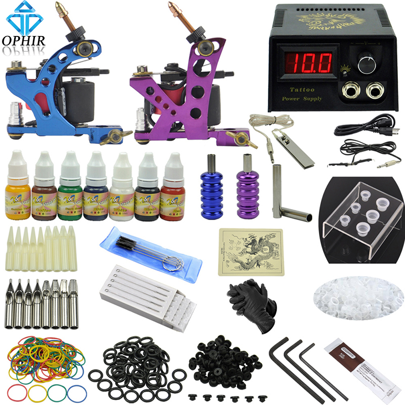 OPHIR Pro Complete Tattoo Kit Tattoo Body Art Accessory 2 Tattoo Machine Gun Power Supply 7 Colors Inks Needles Tips Grips_TA068 2017 pro complete tattoo machine kit set 2pcs coil tattoo machine gun power supply needles grips tips footswitch for body art