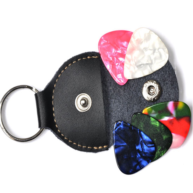 30pcs/Lot Real leather Picks Bag Guitar Bass ukulele Pick-Bags Genuine leather Keychain Pick-Holder Key Chain Bag Black Case