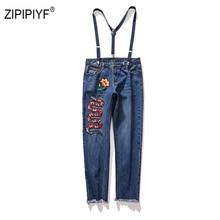 55231a6d71 Plus tamaño de la flor bordado de serpiente vaqueros Mujer ajustable  suspender pantalones vaqueros 2019 Primavera