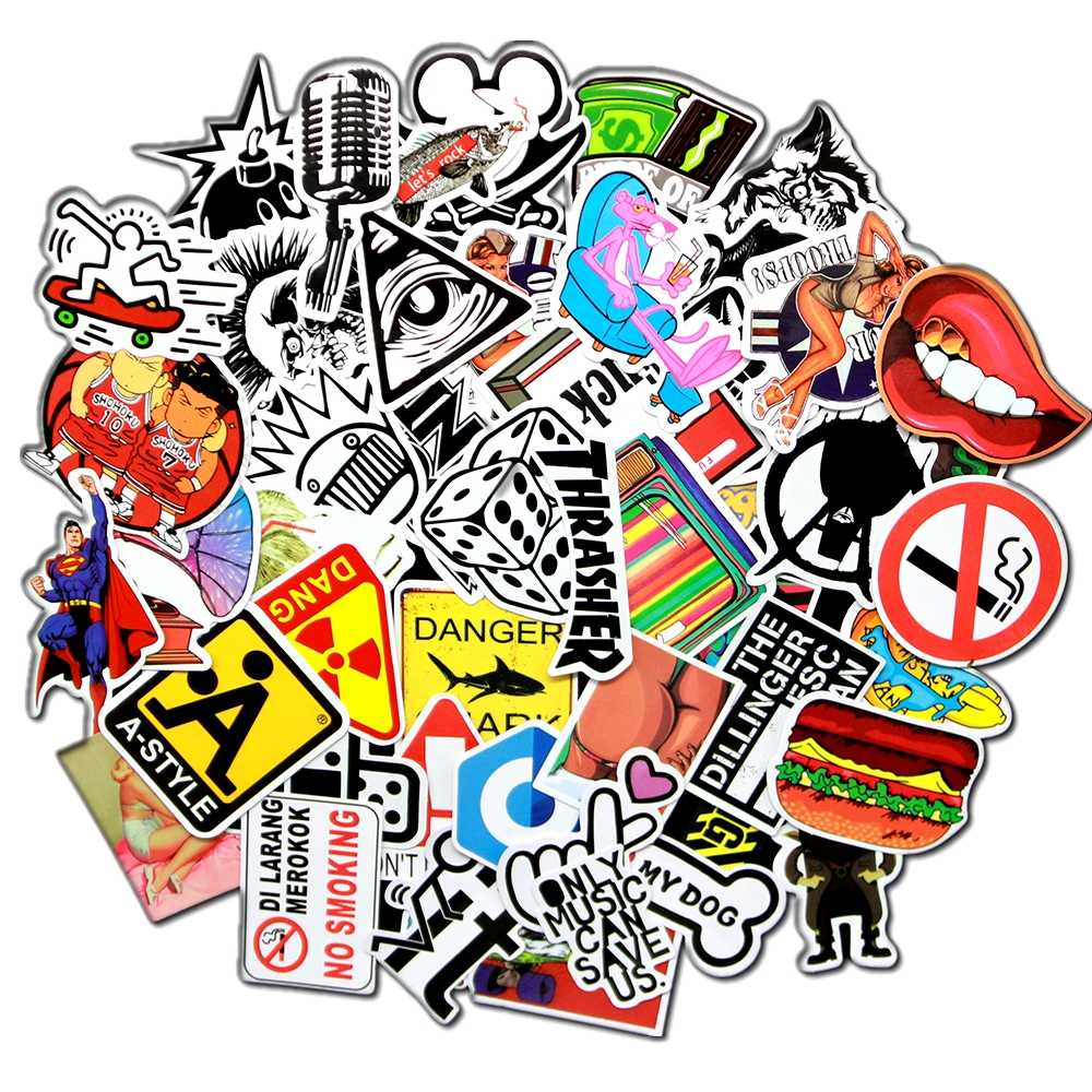50 pcs/pack Classic F Style Graffiti Stickers For helmet car stickers on laptop toys for children