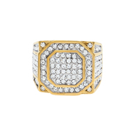 MCSAYS Jewelry Ring Hip Hop St Steel Titanium Steel Full CZ Bling Gold Color For Men