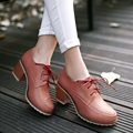 Hot sale 2016 autumn shoes woman thick heel oxford shoes for women lace up leather ankle boots heels ladies shoes plus size