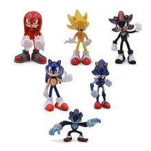6 PCS/Set Sonic The Hedgehog Figures PVC Shadow the Hedgehog Knuckles the Echidna Amy Rose Tails Figure Christmas Gift Toy