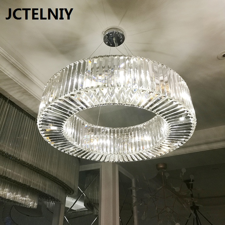 Modern fashion crystal chandelier round LED lights for the living room hotel hall Dia800mm adjustable height modern crystal chandelier light for dining room e14 crystal chandeliers living room round lights curtain lights wpl091