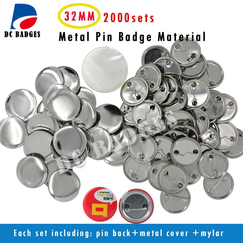 """1 1/4 """"(32mm) leere Abzeichen 2000sets Metall Pinback Button Material Abzeichen Komponenten Zubehör"""