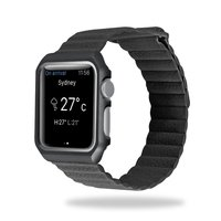 Genuine Leather Loop Band For Apple Watch 42mm 38mm Adjustable Magnetic Button Watch Strap With Metal