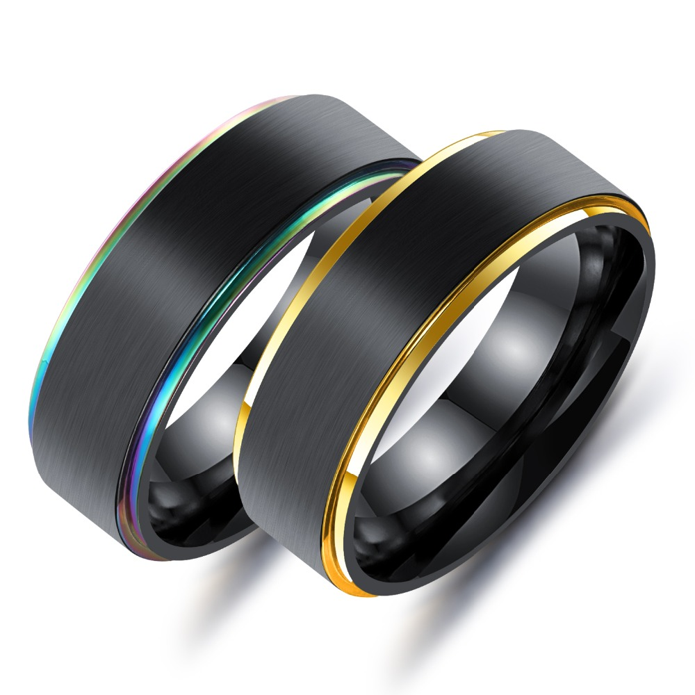 TENGYI Fashion Classic 7mm Stainless Steel Colours/Stripe Gold Rings For Men Shiny Simple Rainbow Fashion Multicolor Ring T615