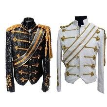 Nueva ropa de hombre moda slim MJ Michael Jackson abrigo de baile  lentejuelas traje chaqueta escenario cantante disfraces coapla. 4aa4ba1aade9