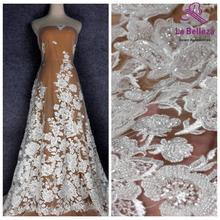 La Belleza new heavy beaded wedding dress lace fabric off white beads sequins lace fabric big flowers pattern lace 1 yard