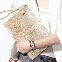 Модный Длинный дизайнерский кошелек для женщин из натуральной кожи с узором «крокодиловая кожа», Женский кошелек для монет, женские кошельки, модный клатч, сумочка