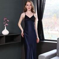100% Pure Silk Women's Long Dress Nightie for Women Dark Blue M L XL