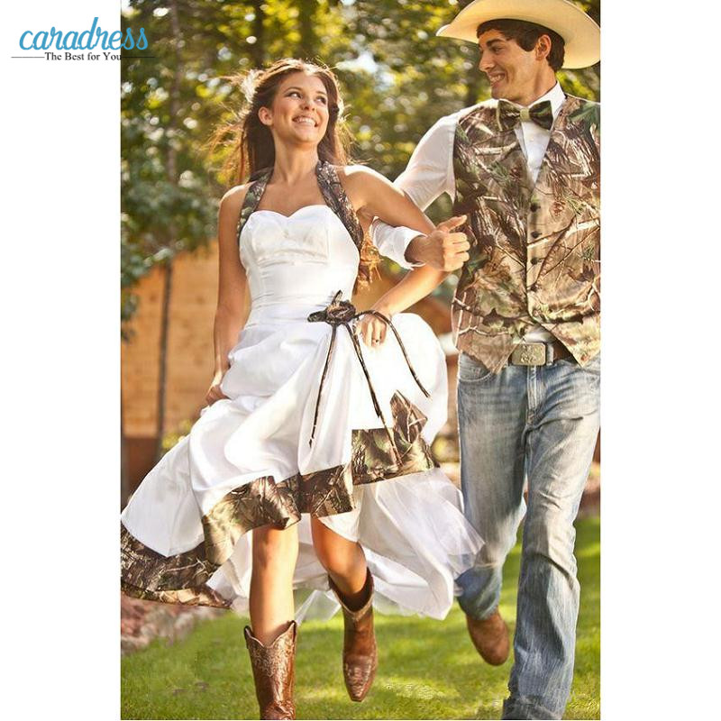 Vintage Country Realtree Camo White Wedding Dresses 2017 Halter
