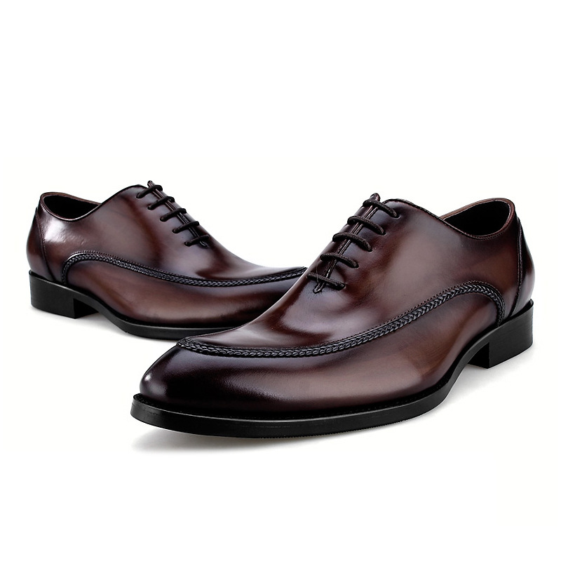 2018 new Fashion black / brown tan pointed toe oxfords mens dress shoes genuine leather wedding shoes mens business shoes mycolen mens shoes round toe dress glossy wedding shoes patent leather luxury brand oxfords shoes black business footwear