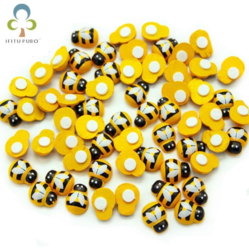 100Pcs Wholesale Home Decor Mini Bee Wooden Sponge Self-Adhesive Wall Stickers