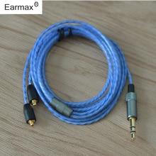 Earmax interfaz MMCX Para Shure SE215 SE315 SE425 SE846 Auricular de Sustitución de Cable de Alambre de Cobre Solo Cristal Separar Cables de Línea