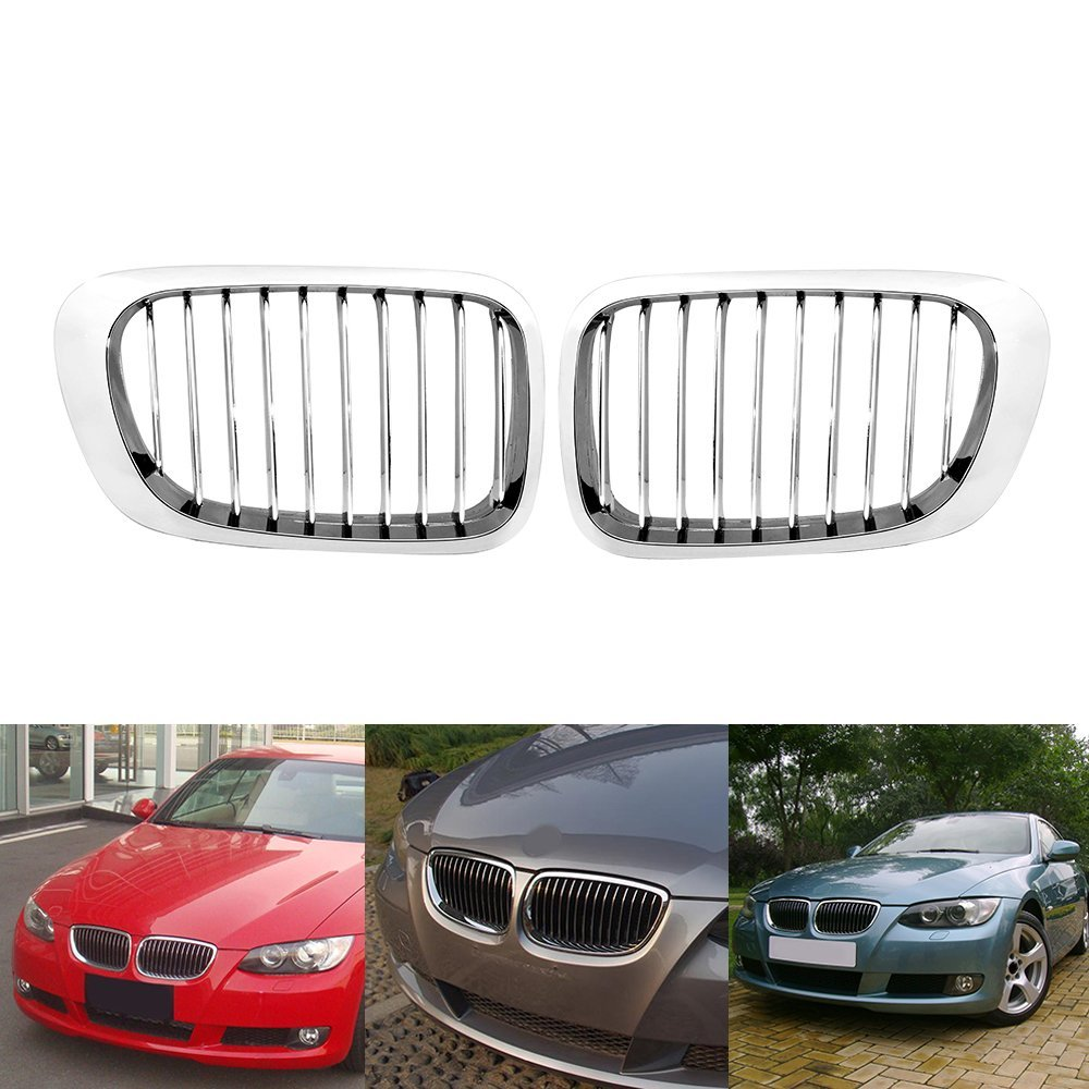 2Pcs Gloss Sliver Front Kidney Sport Grille For BMW E46 3