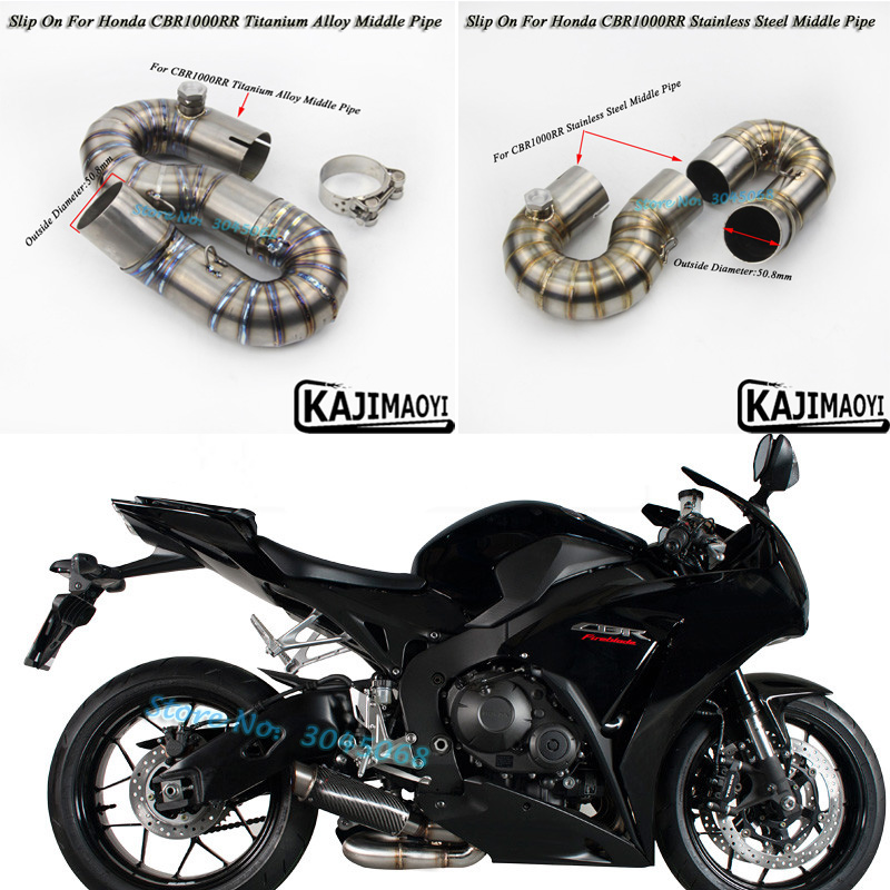 CBR1000RR Motorcycle Exhaust Full System Muffler Middle Link Pipe Titanium Alloy Slip On For CBR1000 2008-2016 Without Exhaut fmf factory 4 1 rct slip on exhaust with titanium mid pipe titanium