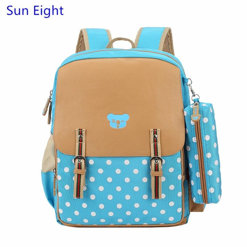 Sun Eight pink student bag girls school bags kids backpack dots pencil bag randoseru children bag girl schoolbag dropshipping