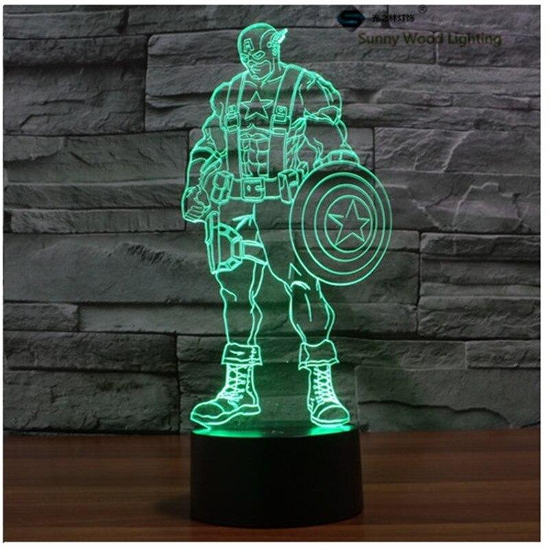 Капитан Америка сенсорный выключатель LED 3D, визуальную иллюзию 7 видов цветов Изменение 5 В USB для ноутбука, украшение стола мультфильм игруш...