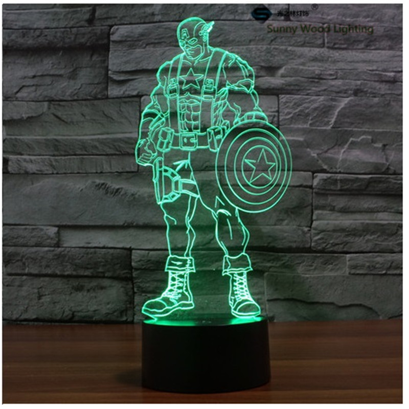 Captain America touch switch LED 3D lamp ,Visual Illusion 7color changing 5V USB for laptop, desk decoration cartoon toy lamp