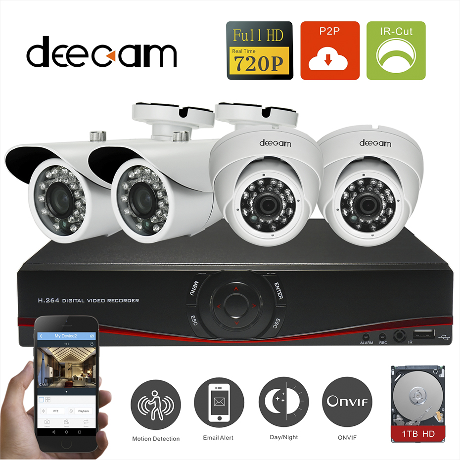 Deecam 4pcs HD 720P 1200TVL Security Camera Kit Home Video Surveillance 4 Channel 720P NVR Recorder CCTV System With 1T HDD