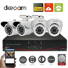 Deecam 4pcs HD 720P 1200TVL Safety Digital camera Package Dwelling Video Surveillance four Channel 720P NVR Recorder CCTV System With 1T HDD