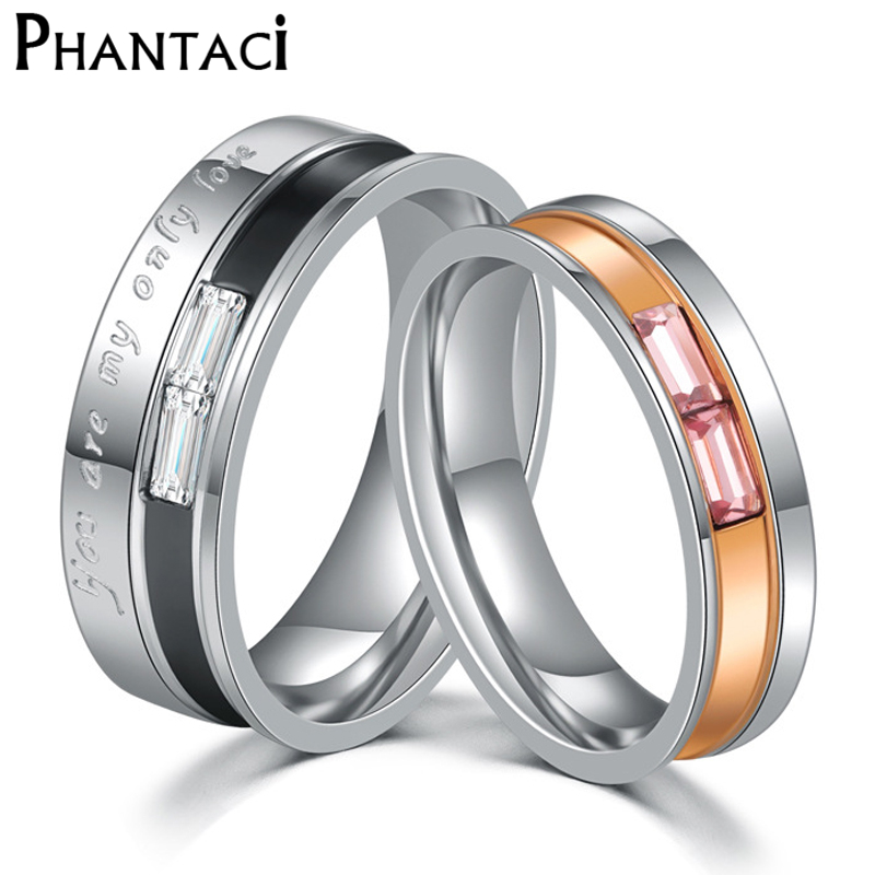 No Fade 6mm Stainless Steel Wedding Ring For Lovers Silver Color Zircon Crystal Couple Rings Set Men Women Engagement Wedding Ri