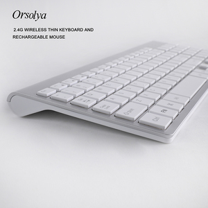 Image 4 - 2.4G Wireless Thin Keyboard and Rechargeable Mouse Combo English/Russian letters Keyboard set Silent key For Computer laptop PC