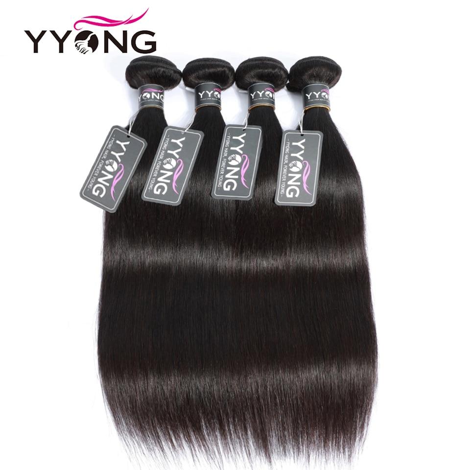 Yyong Peruvian Straight Hair Bundles 100% Human Hair Weaves 4 Bundles Natural Color Non Remy Hair Extension 8-26