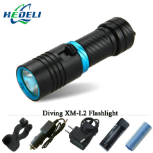 diving flashlight 100M underwater led flashlights scuba diver torch flashlight CREE XM L2 18650 OR 26650 rechargeable batteries 50w 5 xm l2 led scuba diving flashlight underwater 80 m flash light torch diver portable lantern 18650 26650 battery charger