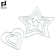 BASEHOME 10pcs 50mm-200mm Dream Catcher Circle Heart Star Shape Findings Hanging Iron Circles Connector Indian Net Jewelry DIY