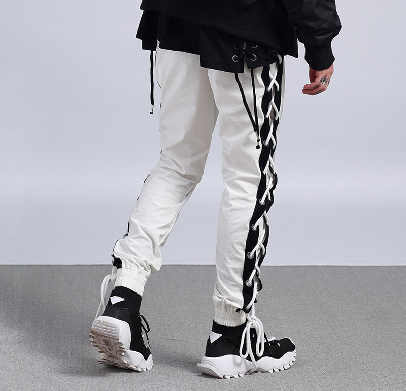 Side Cross Lace Up Joggers Pants 3