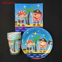 Pirate theme 20pcs plates +20pcs cups napkins for kids birthday party decoration items