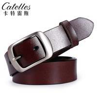 Catelles Women S Leather Belt Casual For Jeans Pin Buckle Soft Leather Wide Belt Designer Brand