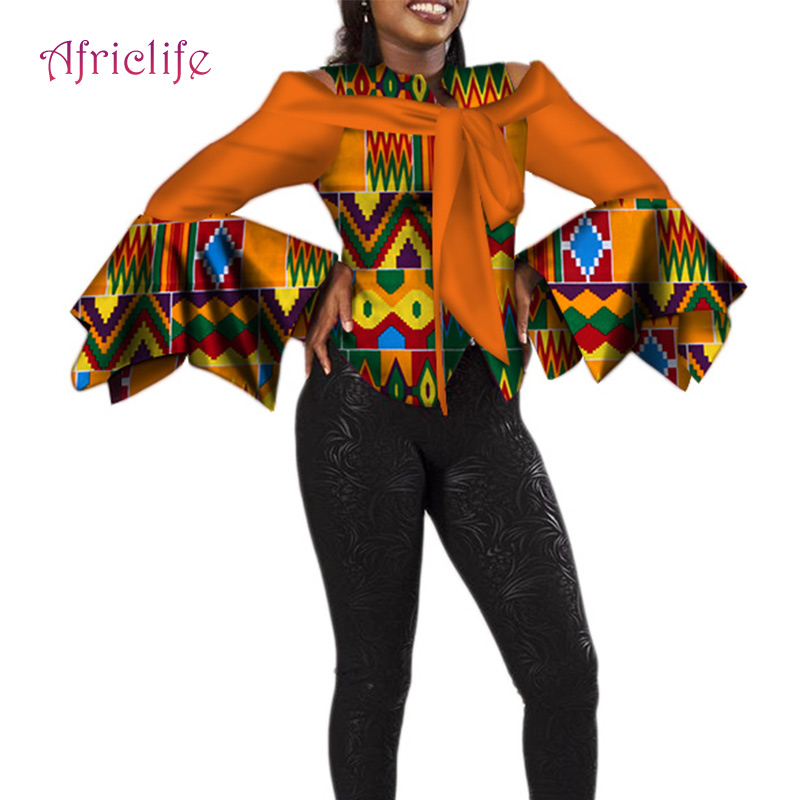 2019 African Clothes For Women Shirt Long Ruffle Sleeve Top Ankara Print Plus Size Lady Fashion Clothes WY4250