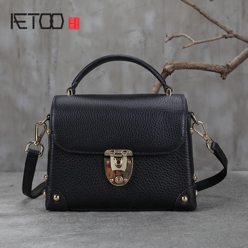 AETOO New retro leather handbag shoulder Messenger bag small package first layer of leather bags aetoo new small square bag retro leather handbags hand painted first layer of leather shoulder bag ladies handbag