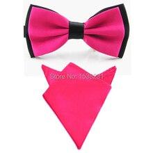 Men Satin Matching Color Bowtie Bow Tie Handkerchief Pocket Square Hanky Set BWSET0004