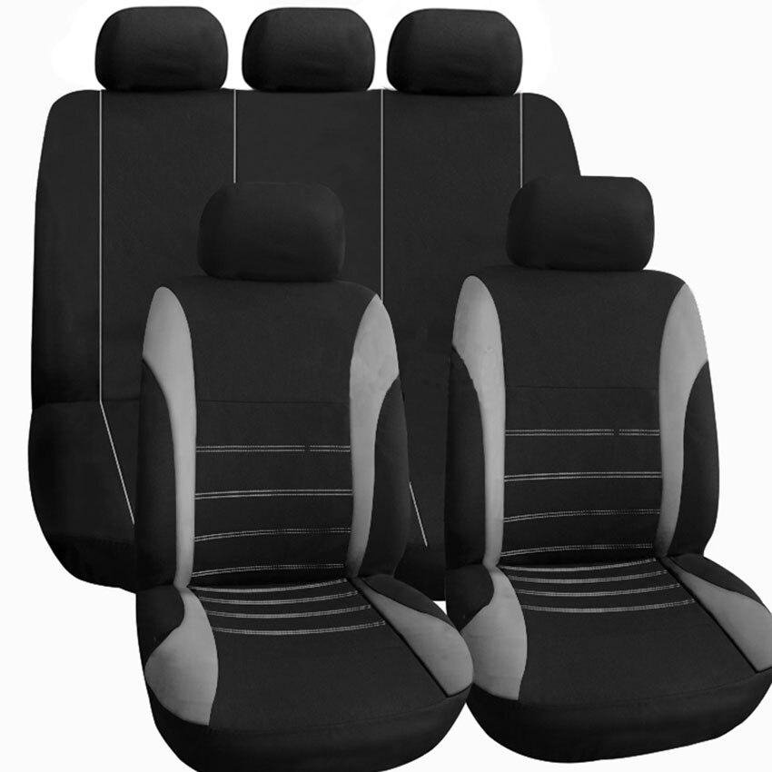 Venda quente poliéster tecido universal capa de assento do carro caber a maioria dos carros com faixa de pneu detalhe estilo do carro protetor de assento de carro