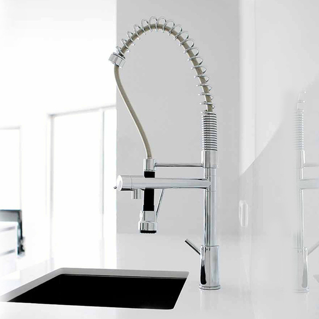 Chrome Kitchen Faucet Booth Table High Quality 2 Water Types Spray Hot Cold Mixer Tap Pull Out