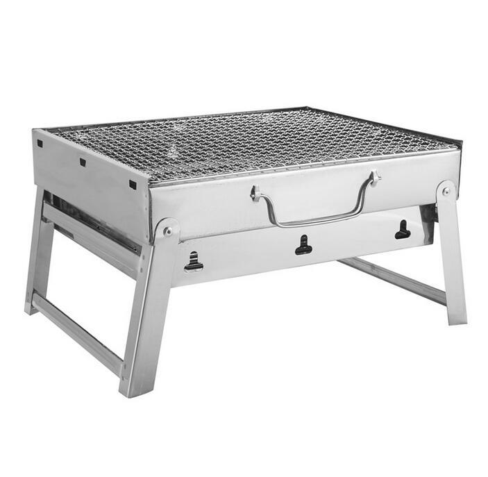 Livraison gratuite 35*27*20 cm pique-nique Barbecue charbon de bois grilles pour Barbecue et argent en plein air en acier inoxydable randonnée charbon de bois Camping Grill