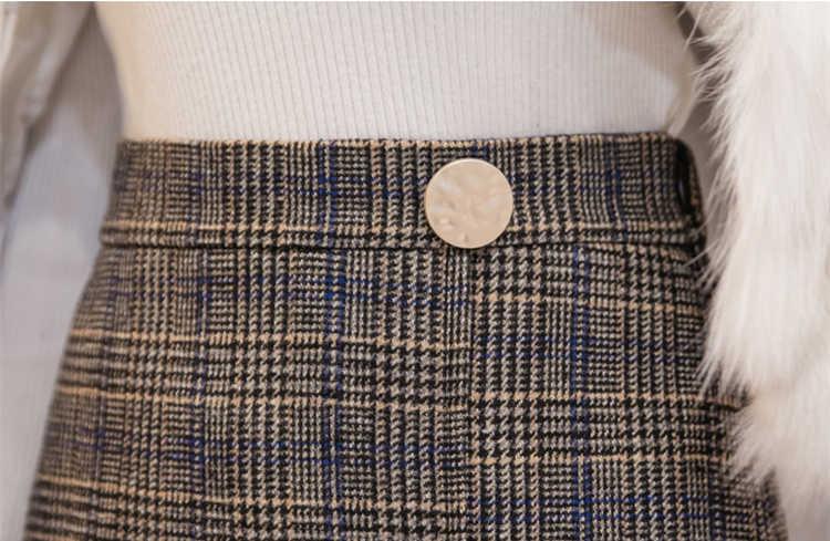 Flectit jesienno-zimowa mieszanka wełny Glen spódnica w kratę z marszczony brzeg złote guziki w pasie asymetryczna spódnica trzy czwarte