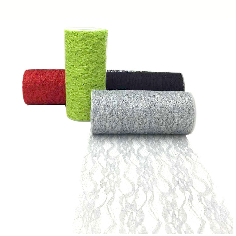 Lace Glitter Tulle Roll Fabric 15cm 10yards Sheer Gauze Element For Table Runner And Home Garden Wedding Party Decoration