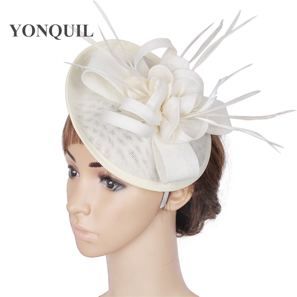Party headwear ostrich quill adorned fascinator with feather base Imitation Sinamay hat DIY hats wedding attractive hair clips