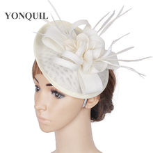 63629a8390993 Party headwear ostrich quill adorned fascinator with feather base Imitation Sinamay  hat DIY hats wedding attractive